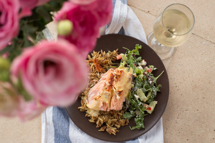 flamed salmon with parmesan orzo