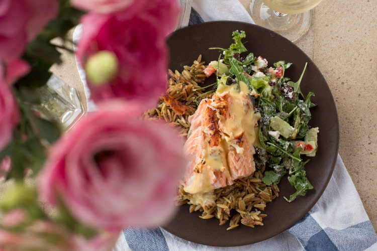 Flamed Salmon with Parmesan Orzo and Salad