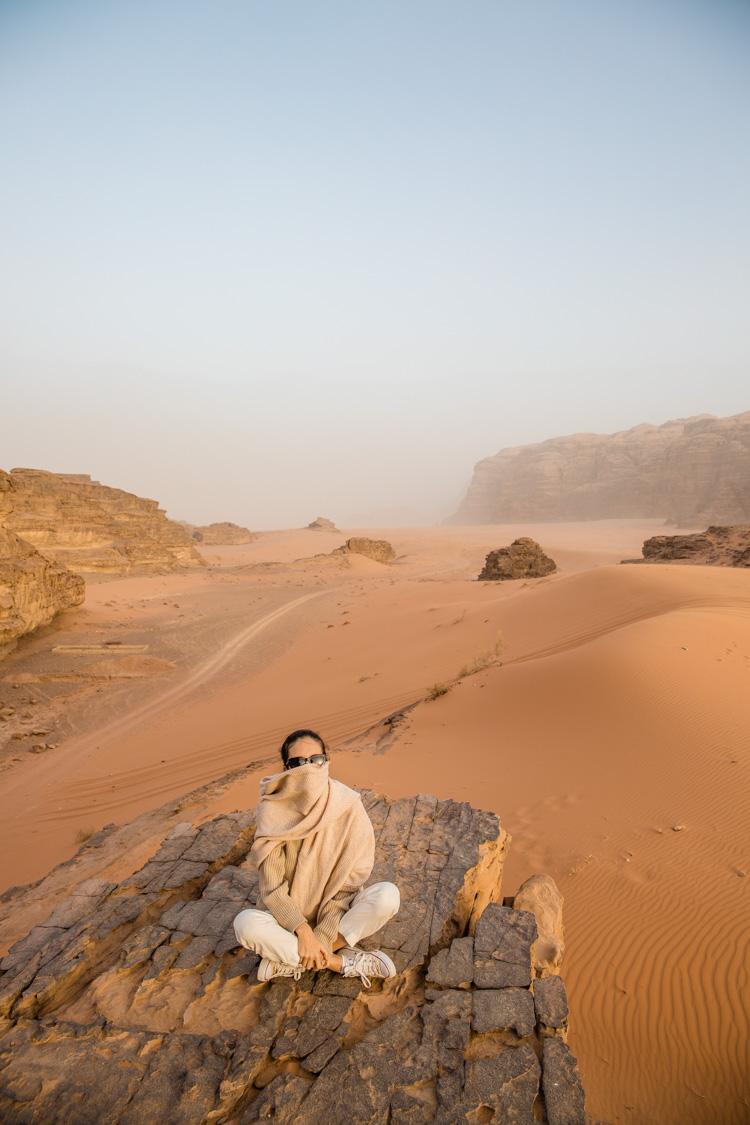 night in desert wadi rum