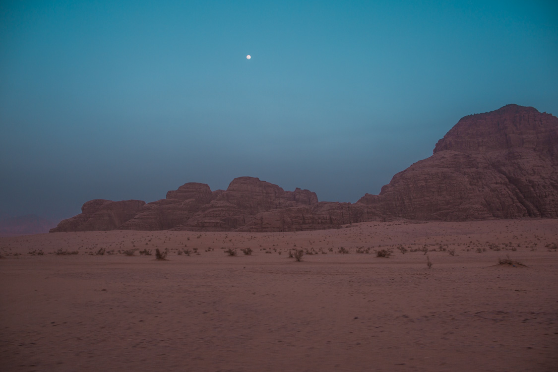 night in desert wadi rum