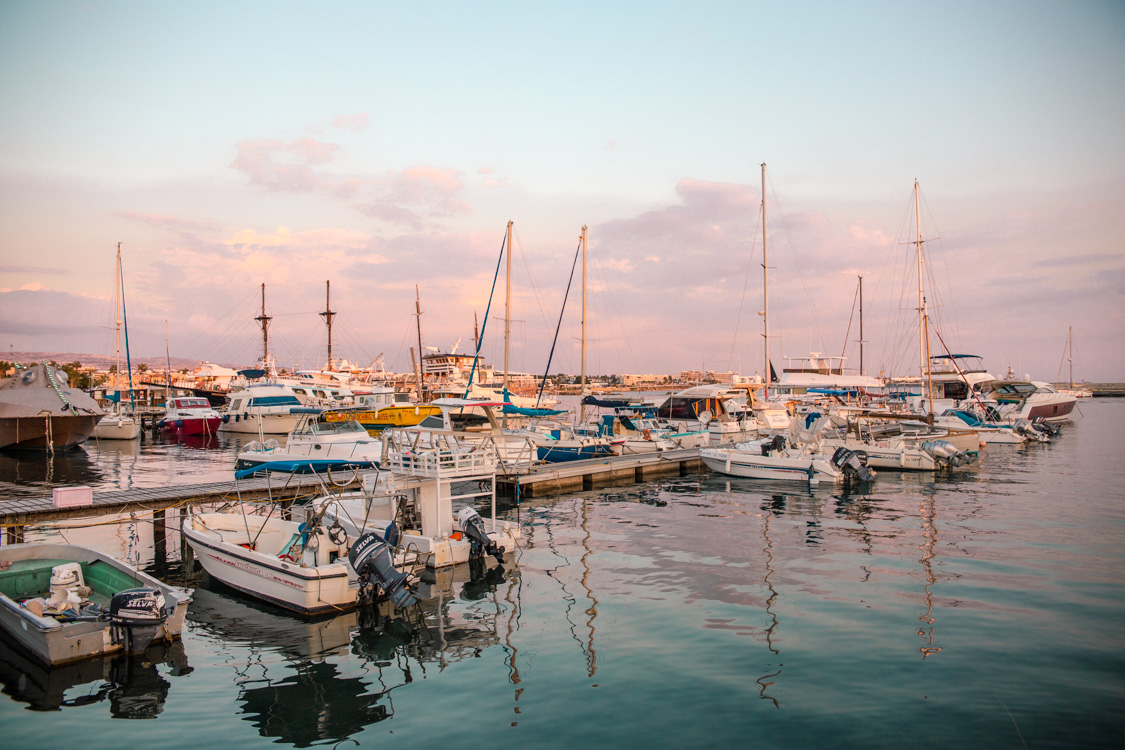 boats at Paphos Harbour, Cyprus during sunset