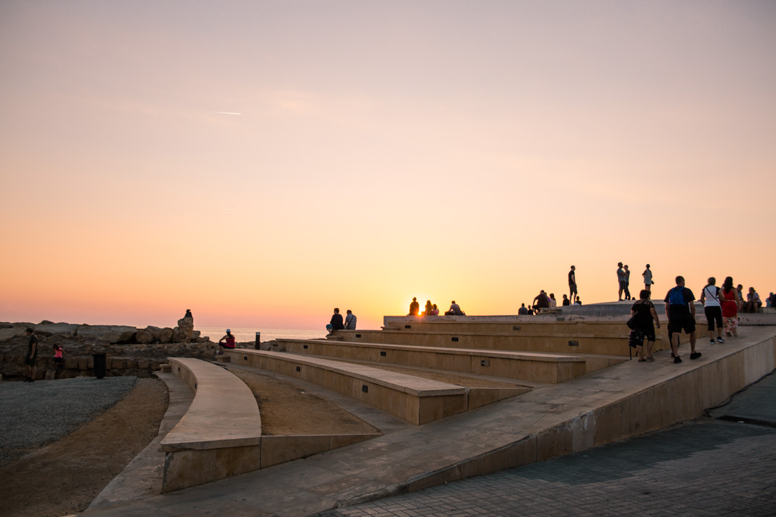 Sunset on the stairs near Paphos Harbour, Cyprus
