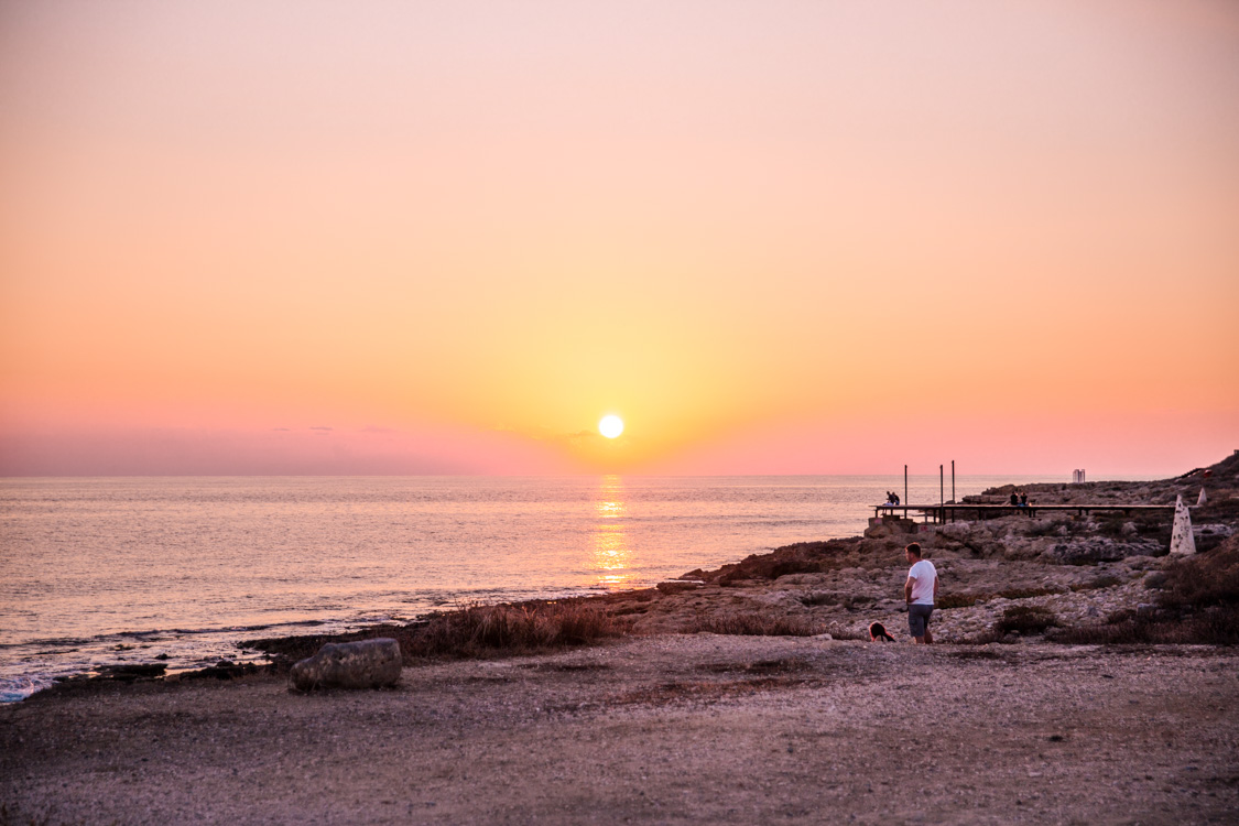 Sunset at the coastal pathway next to Paphos Harbour, Cyprus