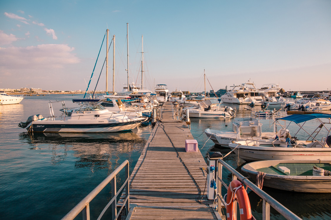 view of boats in Paphos Harbour, Cyprus